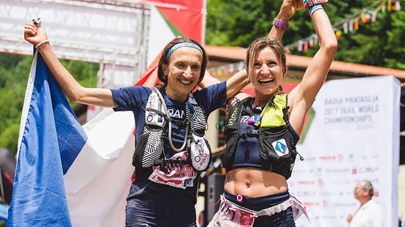 HOKA athlete Amandine Ferrato celebrates at the end of a race