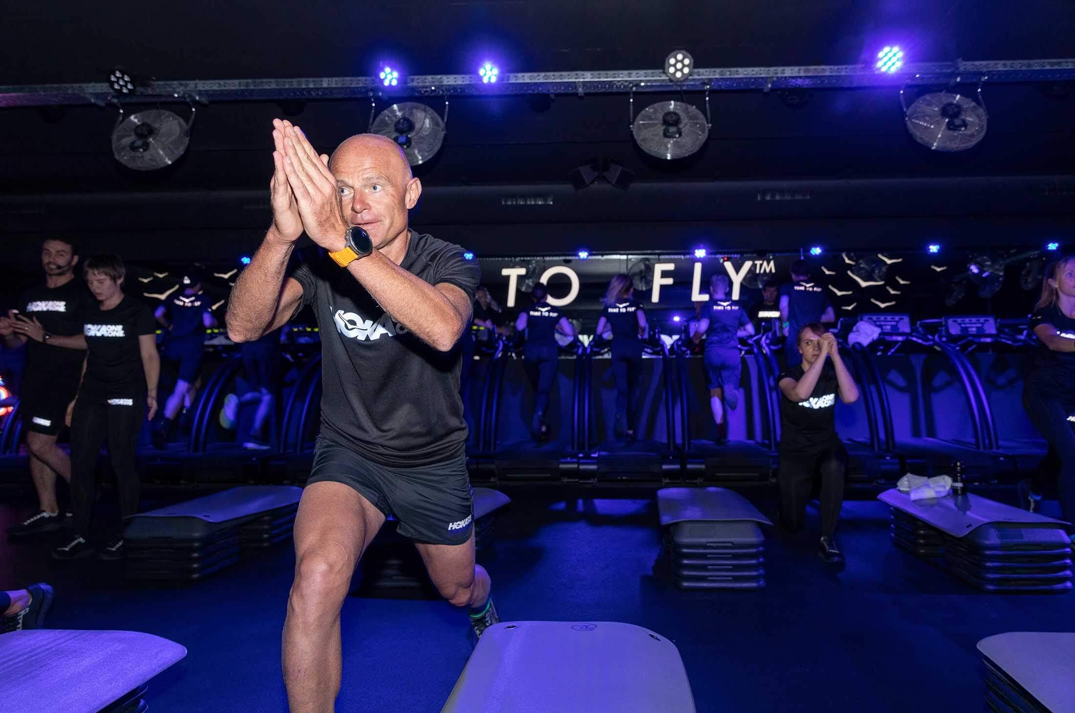 HOKA co-founder Nico Mermoud leads the Fly at Night fitness class