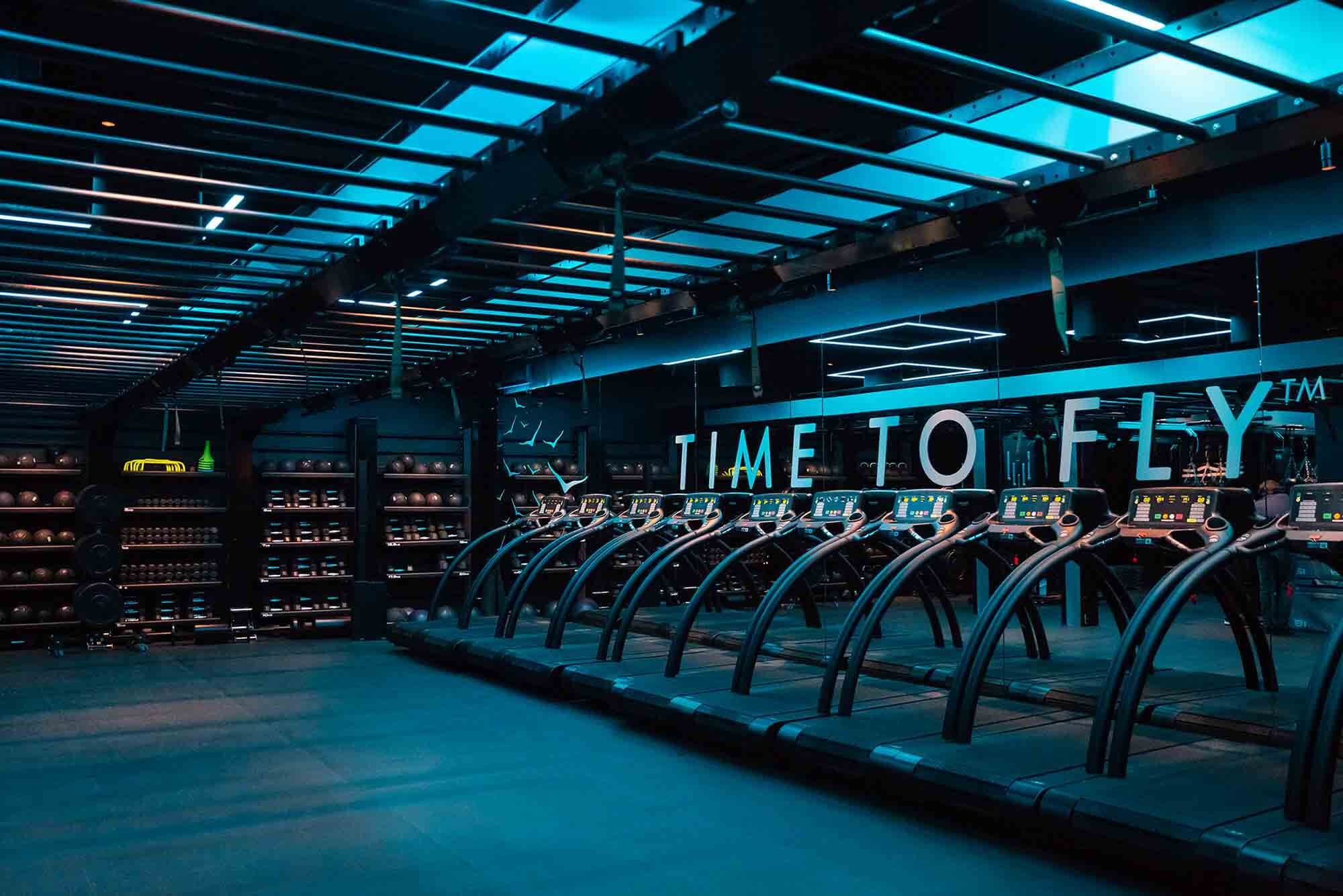 Gym scene at the HOKA Fly at Night event in London