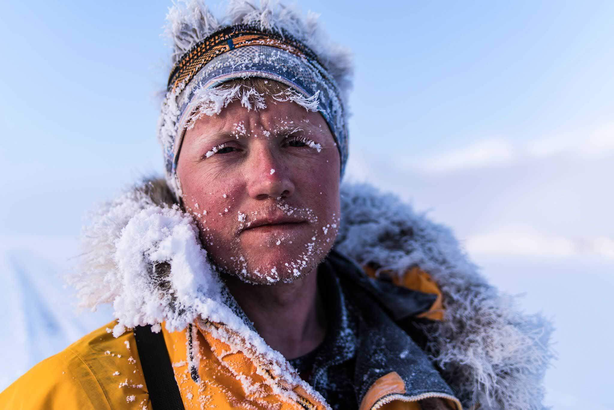 Close up of HOKA fan Rob Trigwell in Siberia
