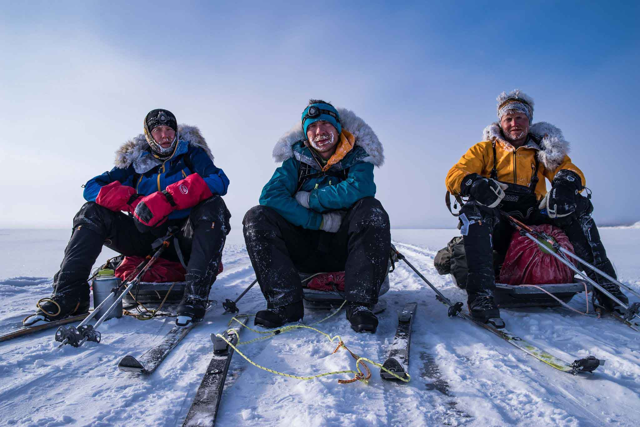Scott Gilmour, Michael Stevenson and Rob Trigwell rest during their Lake Baikal expedition