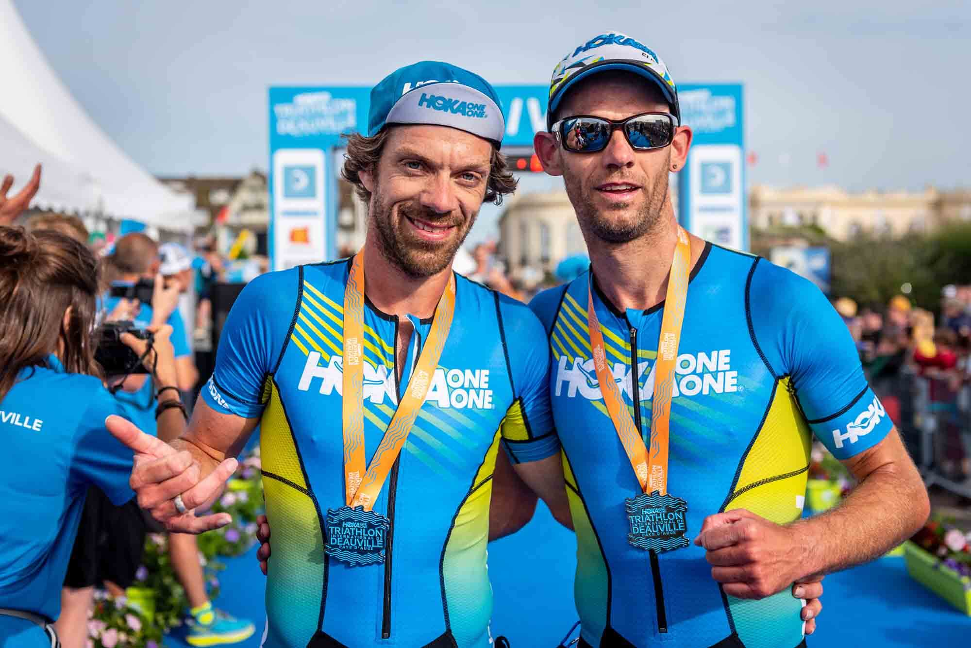 HOKA athletes Olivier Lyoen and Antoine Perel after their victory at 2018 Deauville Triathlon