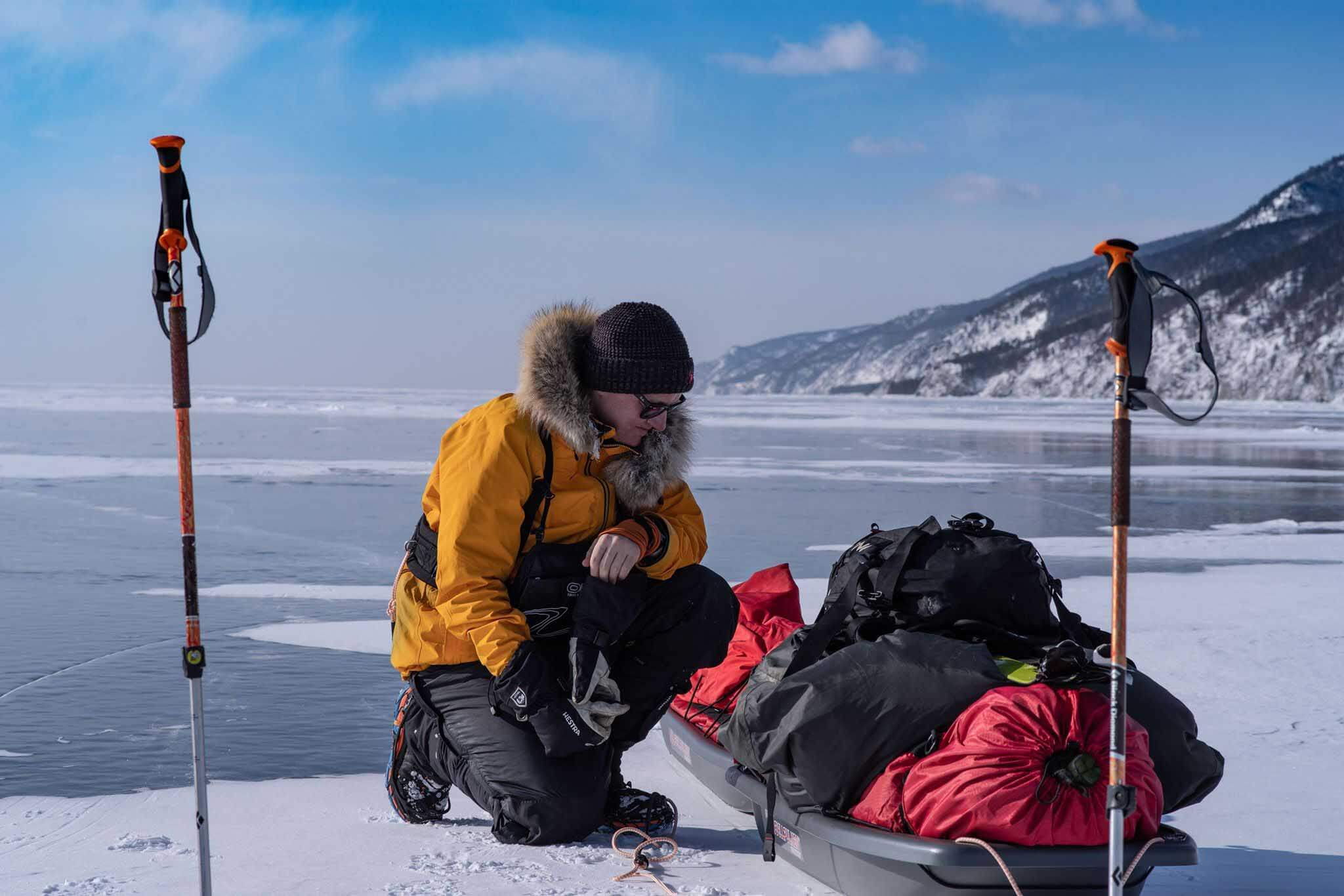 HOKA fan Rob Trigwell takes a break on Lake Baikal