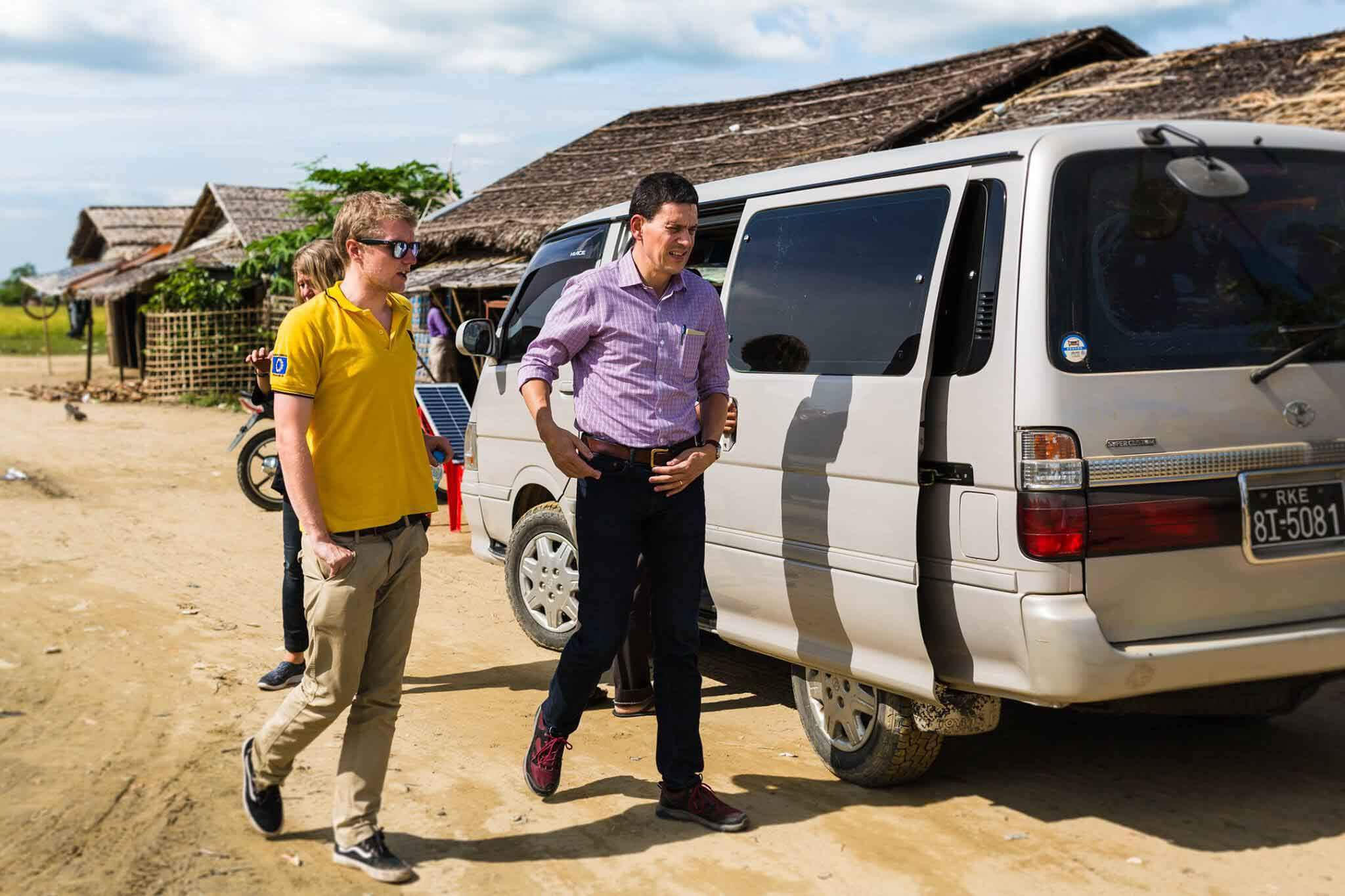 HOKA fan Rob Trigwell with International Rescue Committee CEO David Milliband in Myanmar