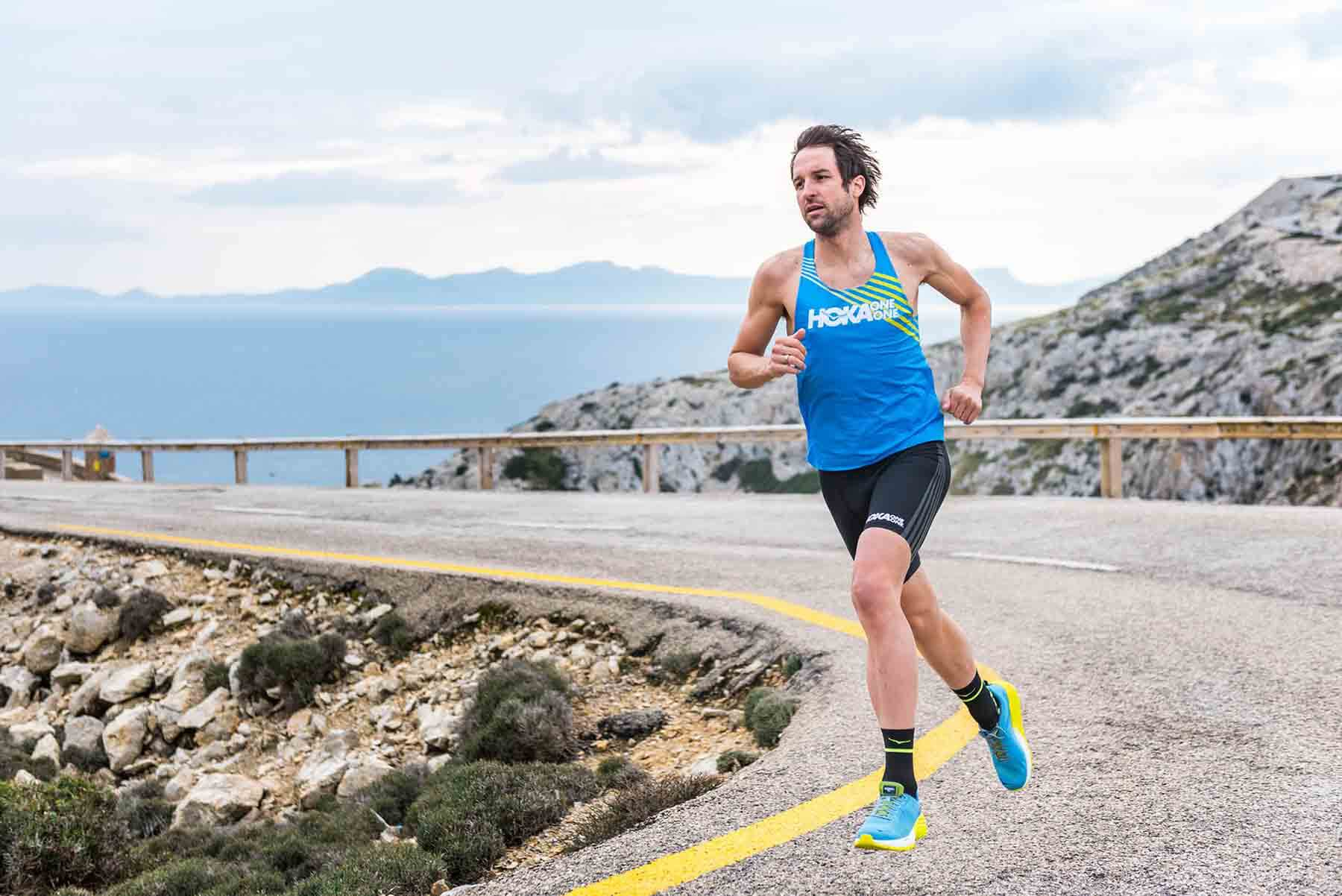 HOKA athlete Boris Stein on a training run in Mallorca