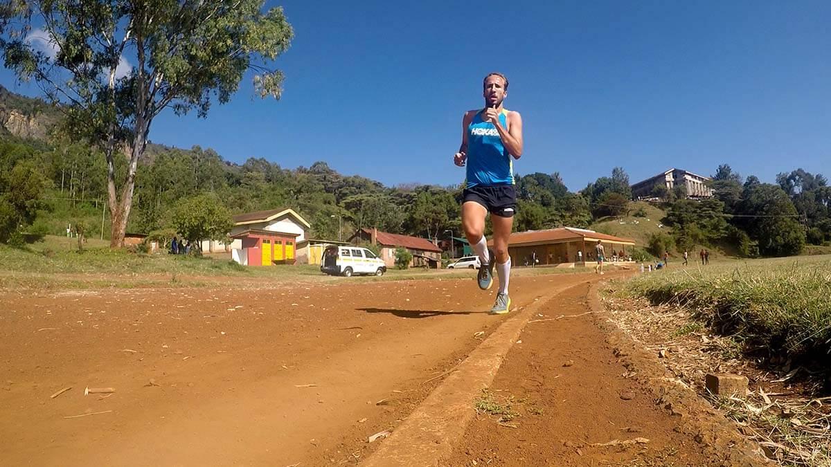 HOKA athlete Frank Schauer trains on the track in Kenya
