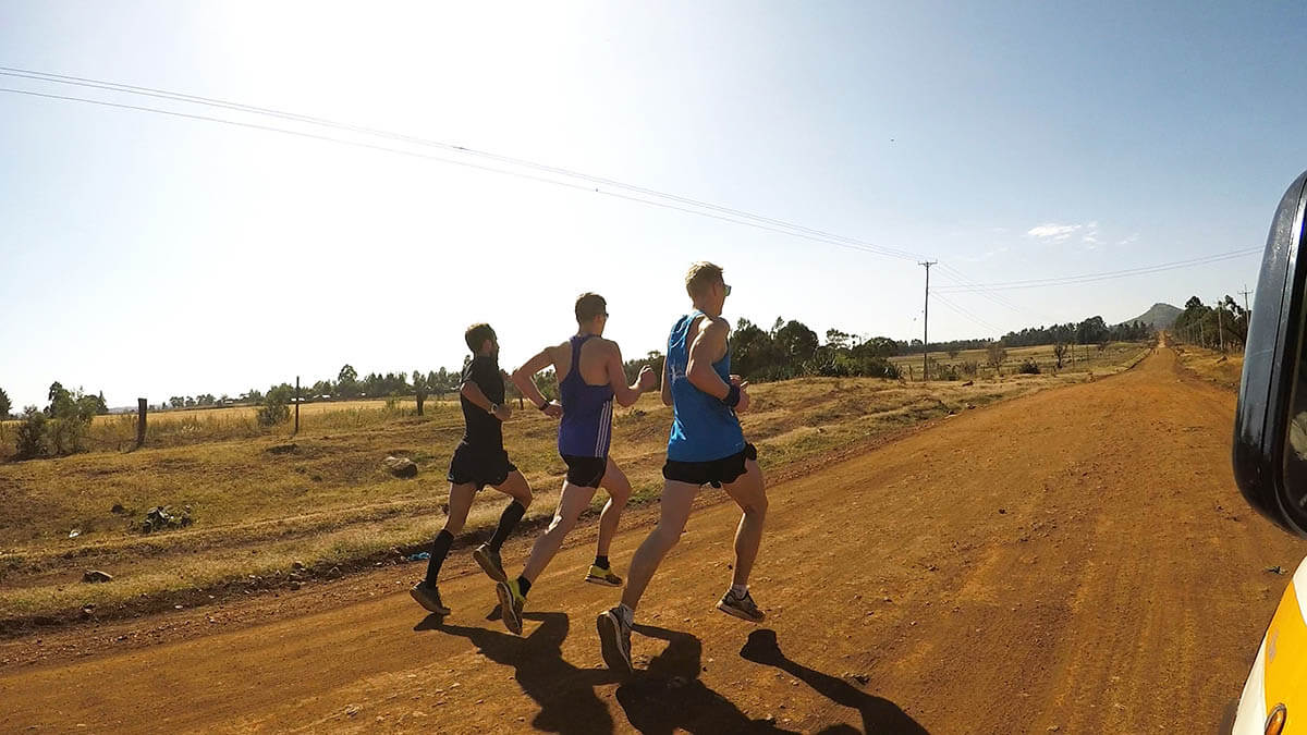 HOKA athlete Frank Schauer trains with teammates in Kenya