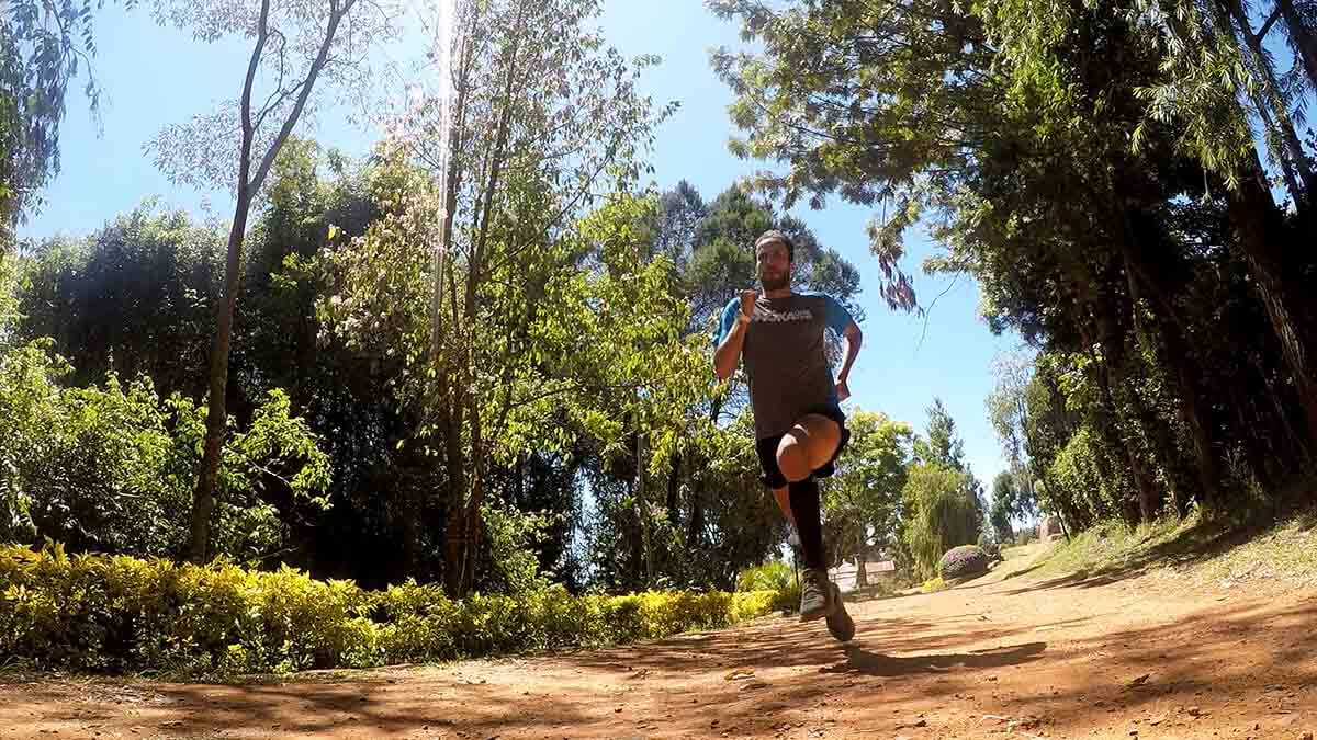 HOKA athlete Frank Schauer training on the trails in Kenya