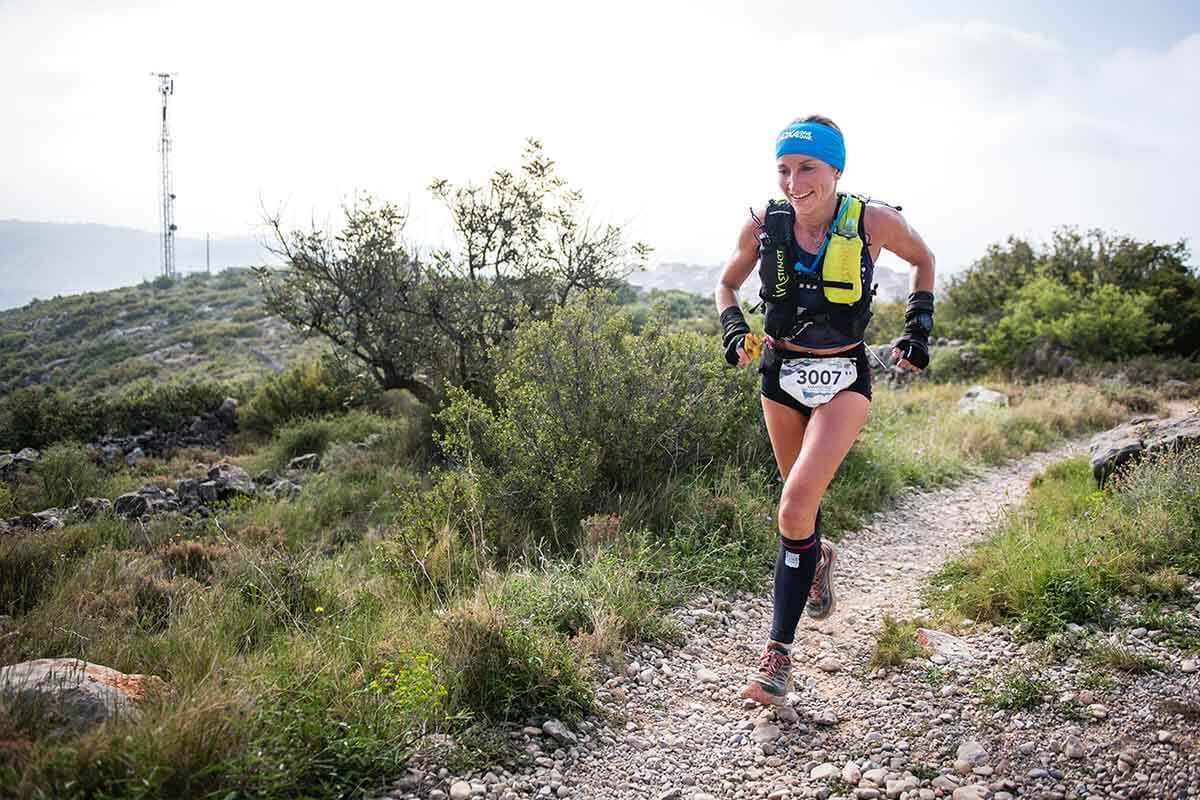 HOKA athlete Amandine Ferrato in action at the 2018 Trail World Championships