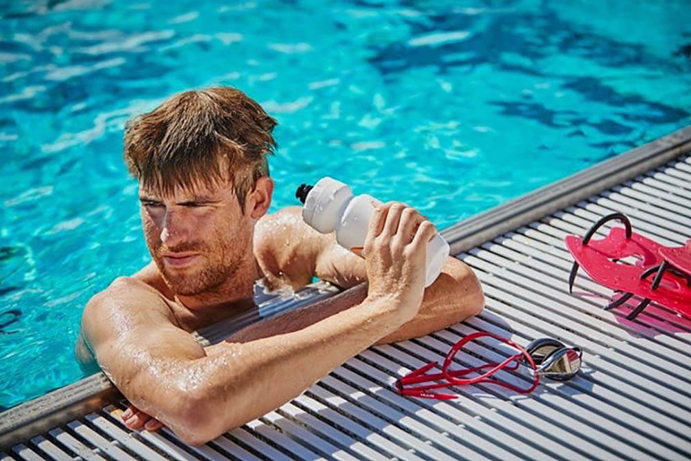 HOKA athlete David McNamee in the pool