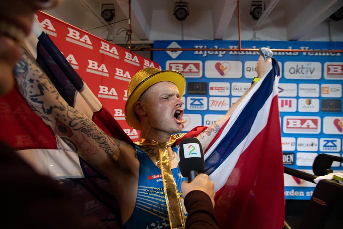 HOKA athlete Bjorn Tore Tavanger celebrates his world record