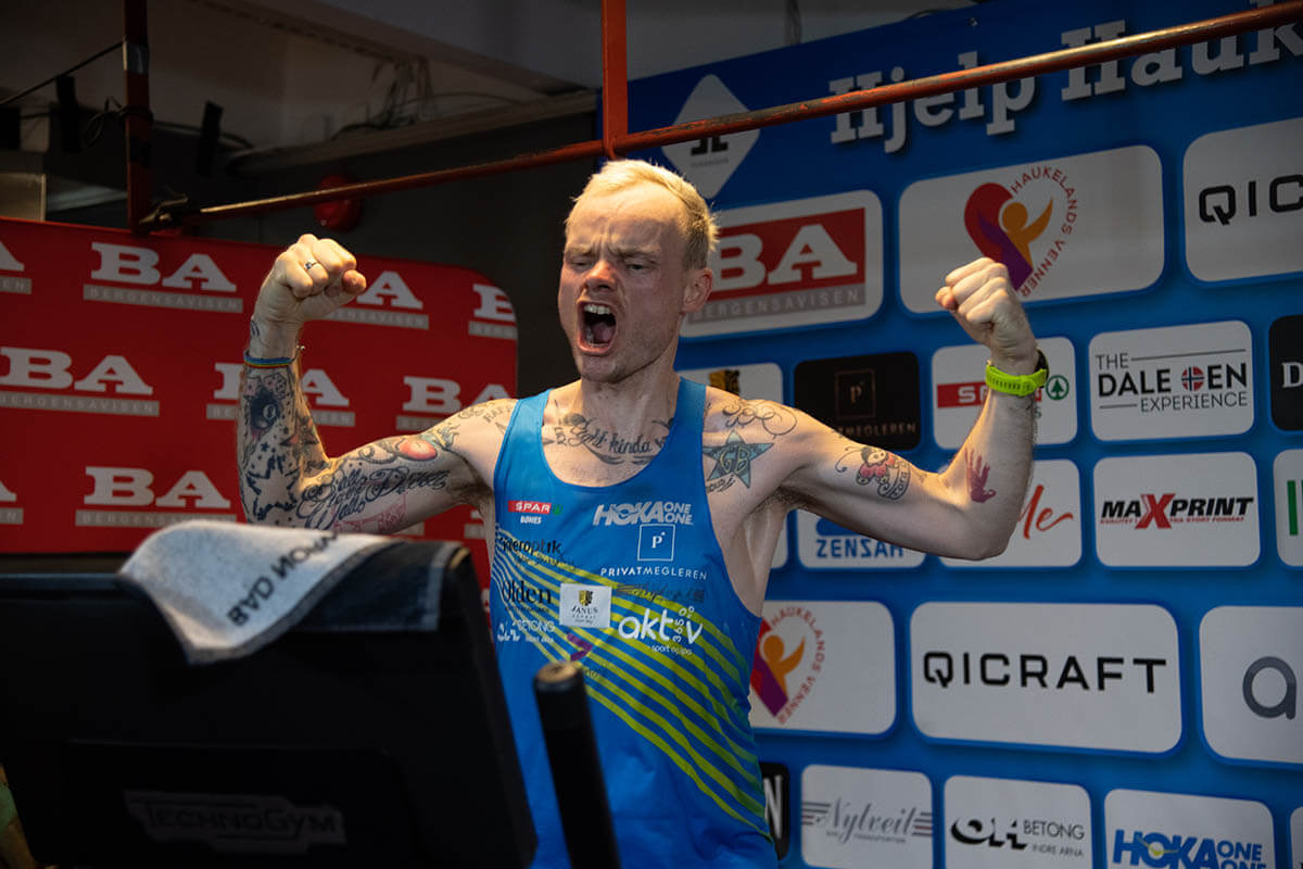 HOKA athlete Bjorn Tore Tavanger celebrates on the treadmill