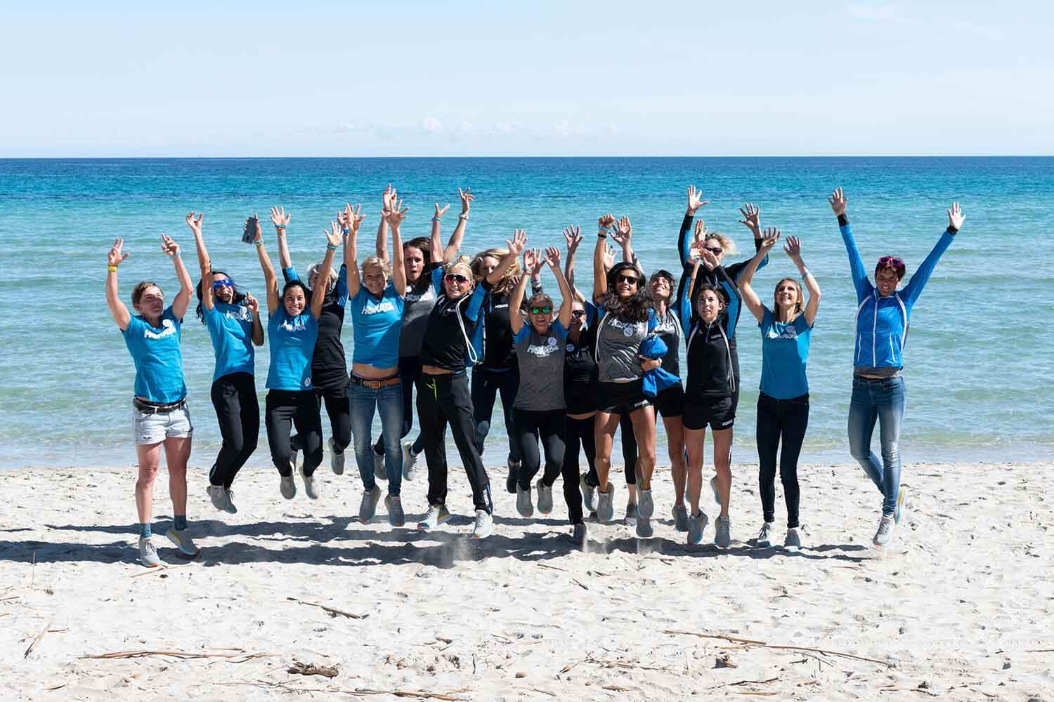 HOKA athletes on the beach in Mallorca