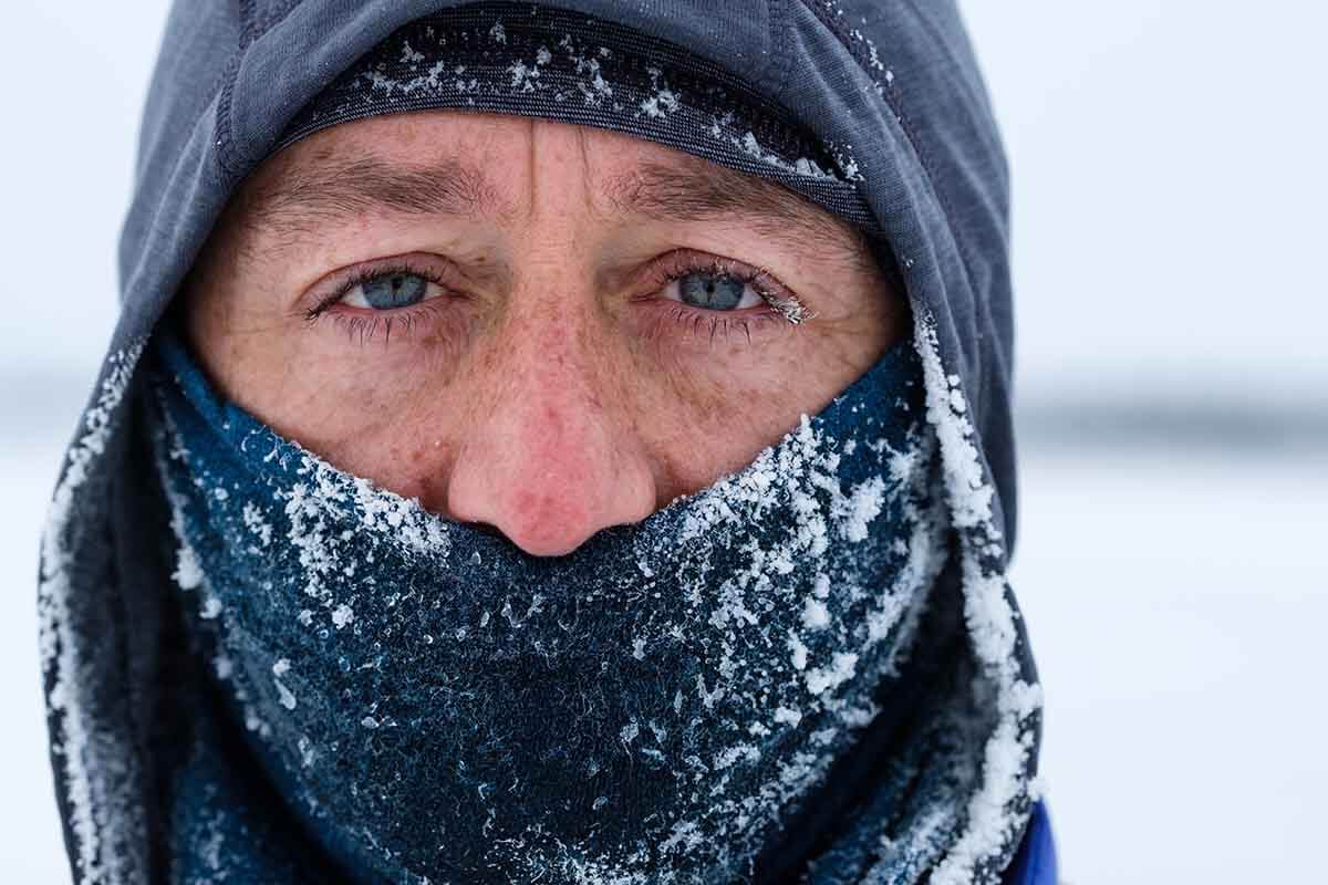 HOKA fan Mark Whittle close up in the Arctic