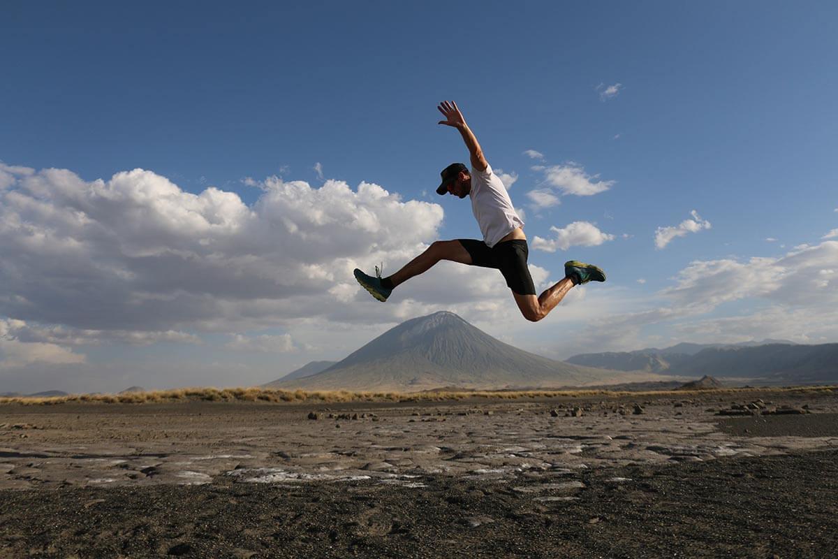 HOKA fan Simon James 'flies' over the mountain in Tanzania