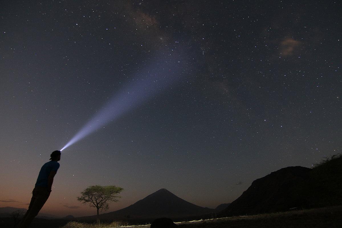 HOKA fan Simon looks out into the night sky