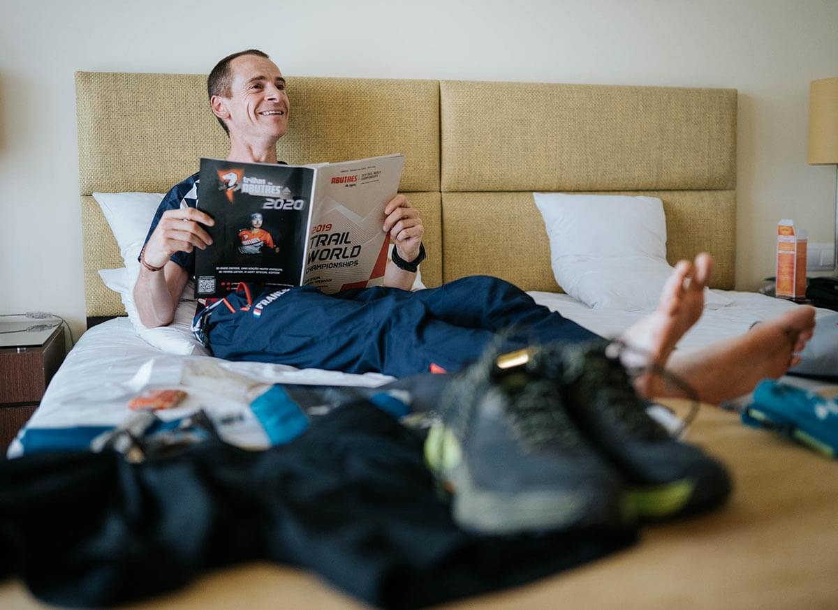 HOKA athlete Julien Rancon relaxes before the event