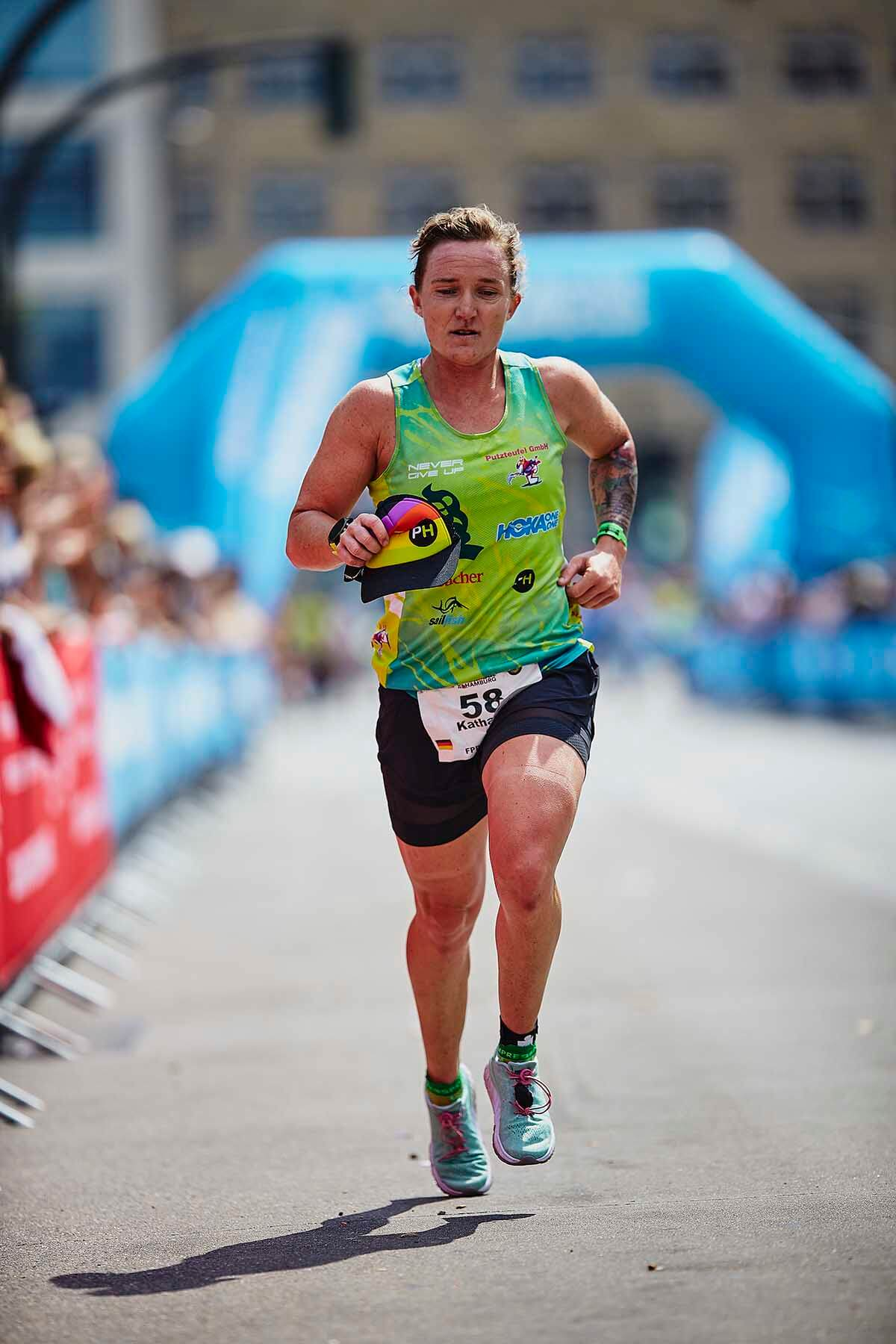 HOKA athlete Katharina Grohmann runs in Ironman Hamburg