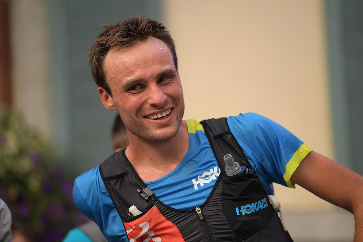 HOKA athlete Thibaut Garrivier smiles after the race