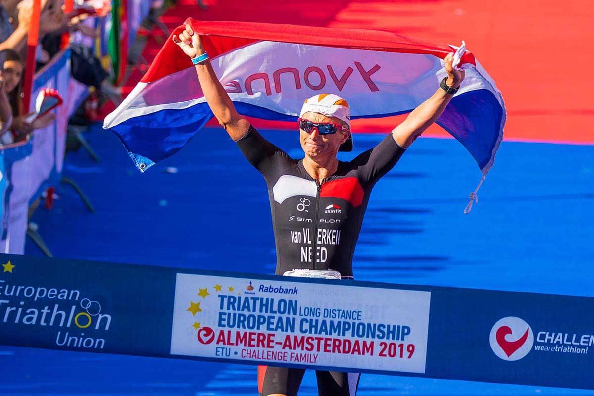 HOKA athlete Yvonne van Vlerken crosses the line first at Challenge Almere