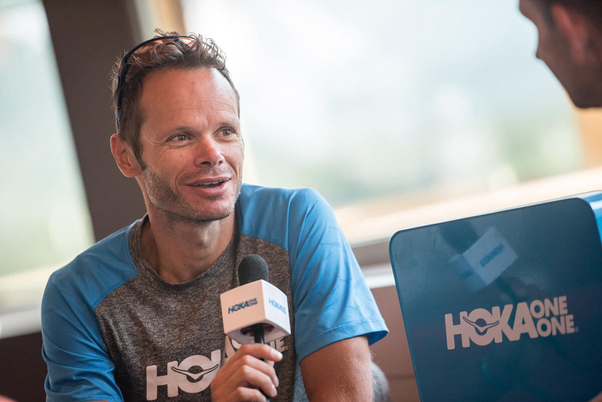 HOKA athlete Ludo Pommeret faces the media