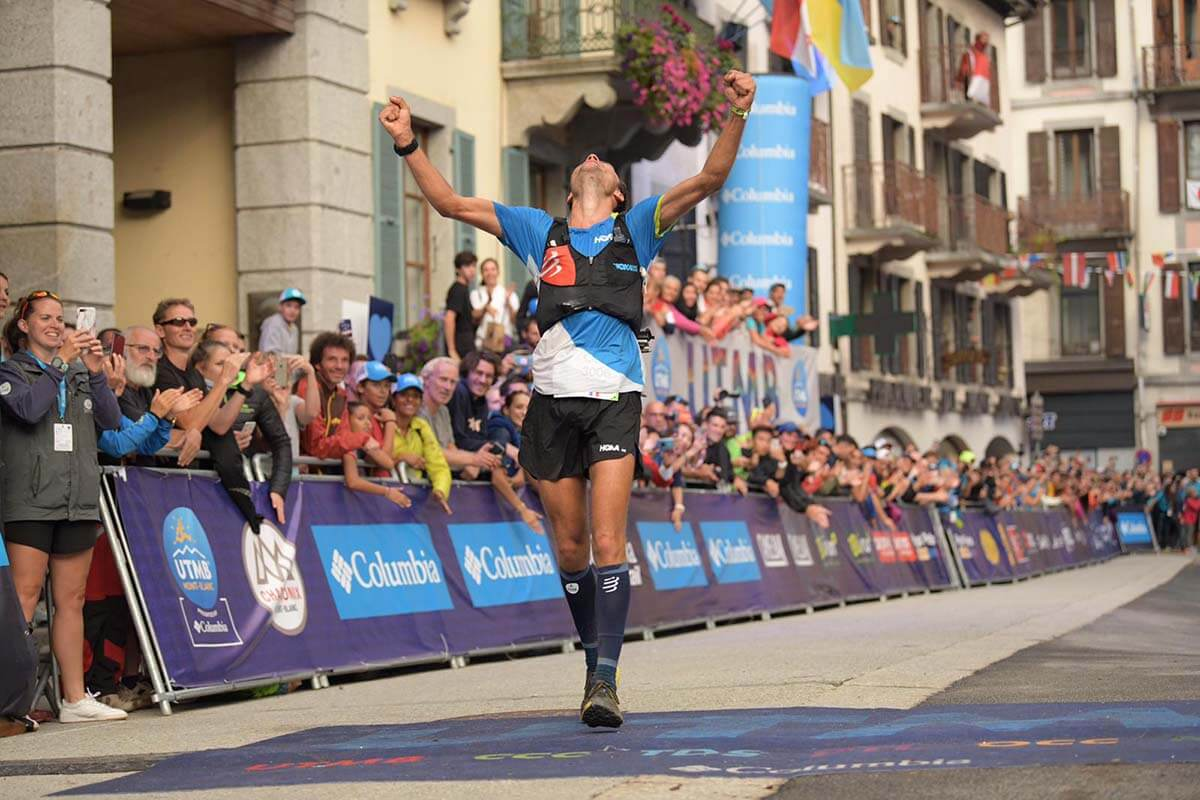 HOKA athlete Thibaut Garrivier runs into the finishing straight