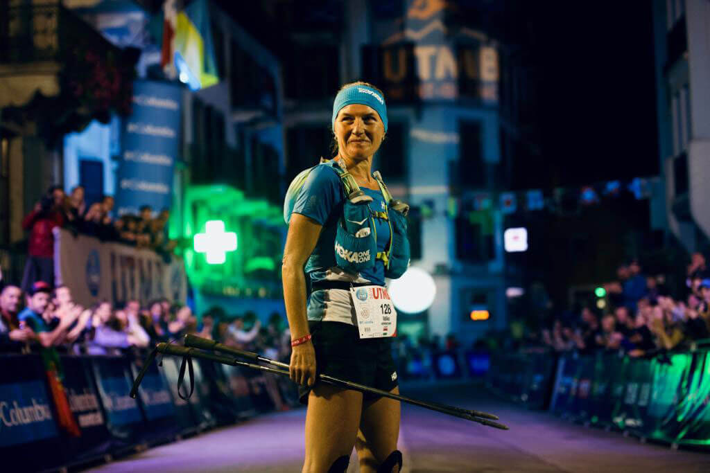 HOKA athlete Ildiko Wermescher stands at the finish