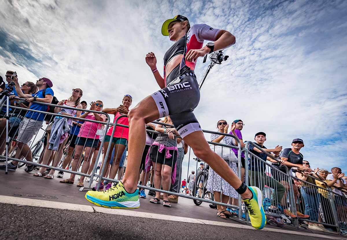 HOKA athlete Emma Pallant in action at the 2019 IRONMAN 70.3 World Championship in Nice