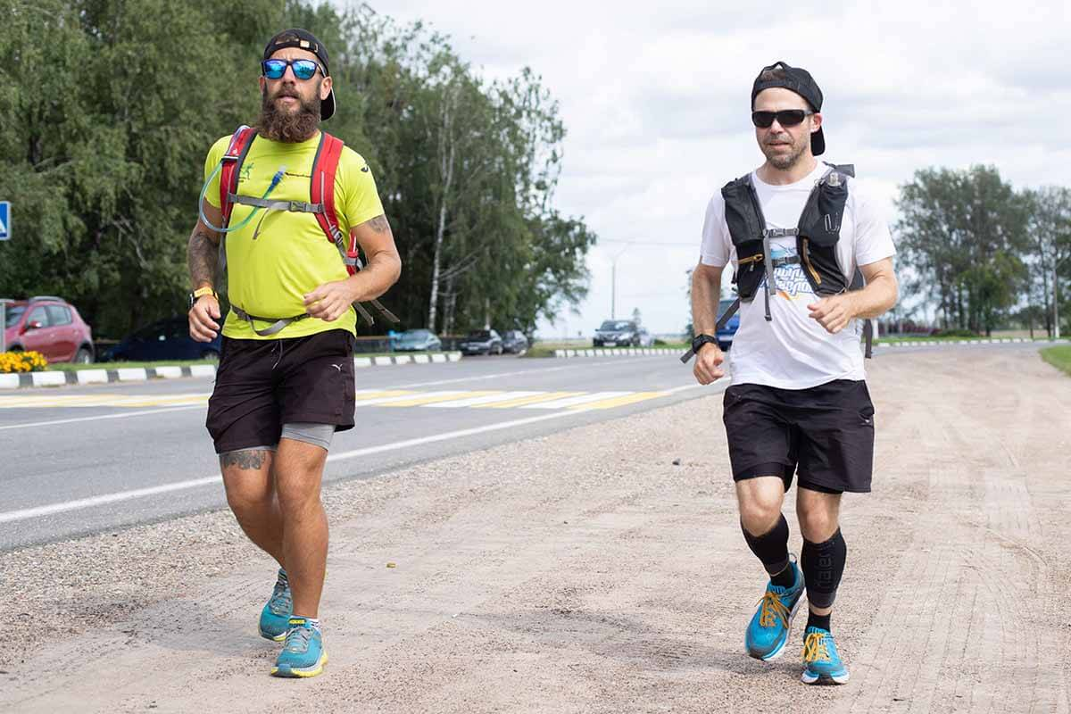 HOKA fans Jared Goldman and the Bearded Runner together running in Belarus