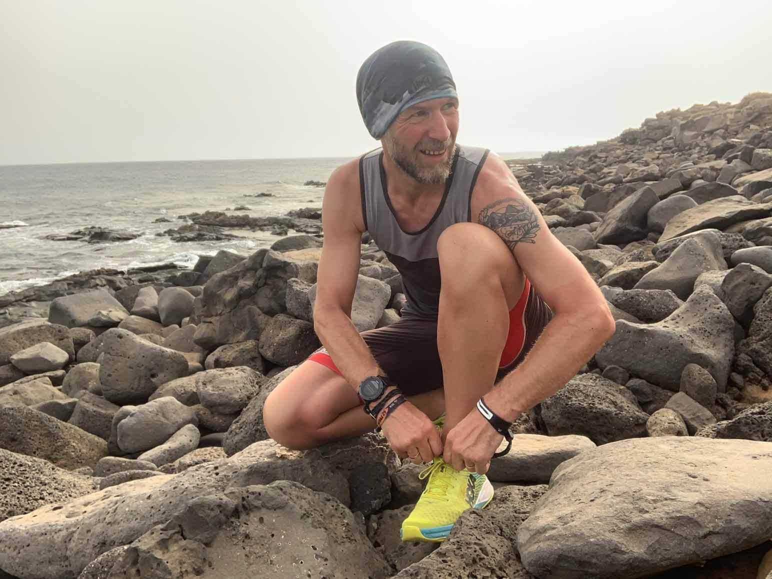 HOKA fan Tom Pullinger tied up his Carbon Rocket shoelaces