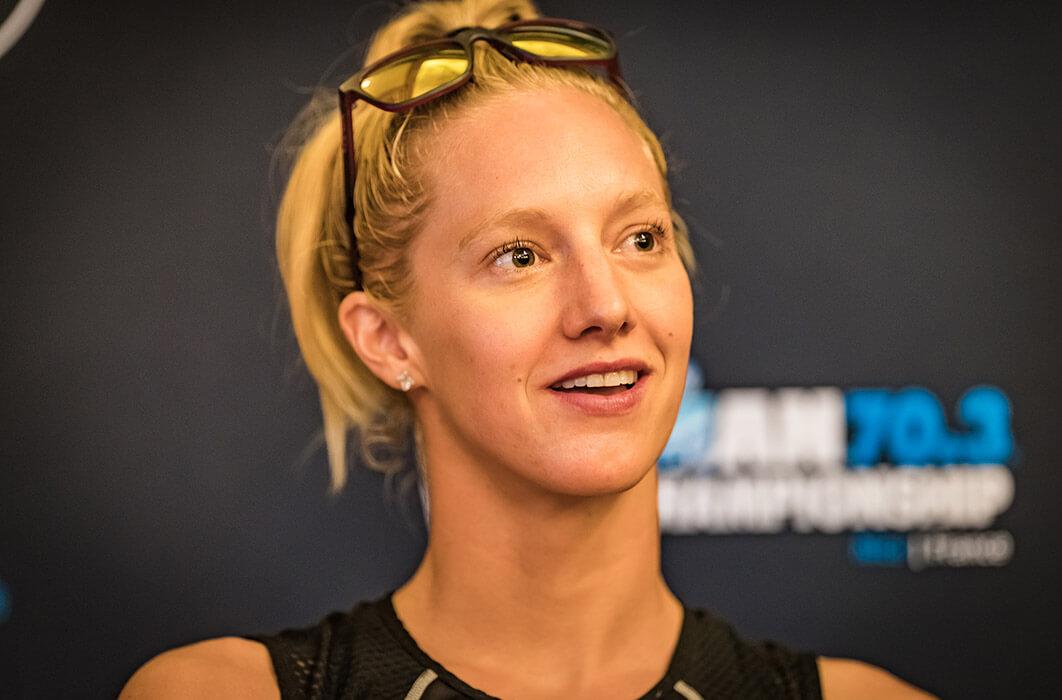 Close up of HOKA athlete Emma Pallant at press conference