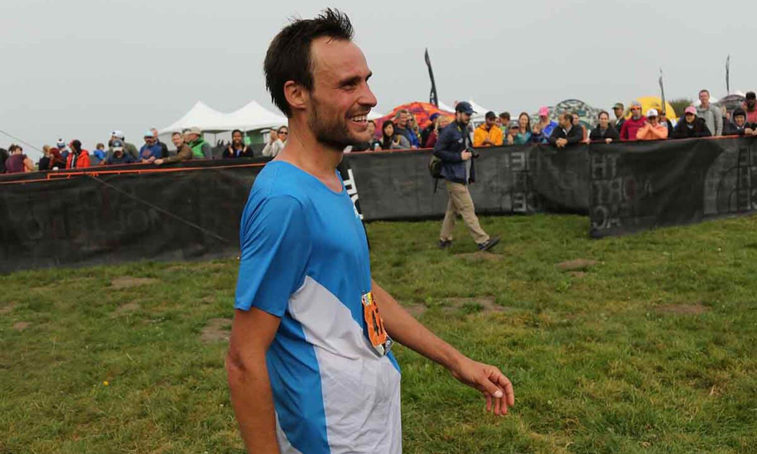 HOKA athlete Thibaut Garrivier all smiles after TNF 50