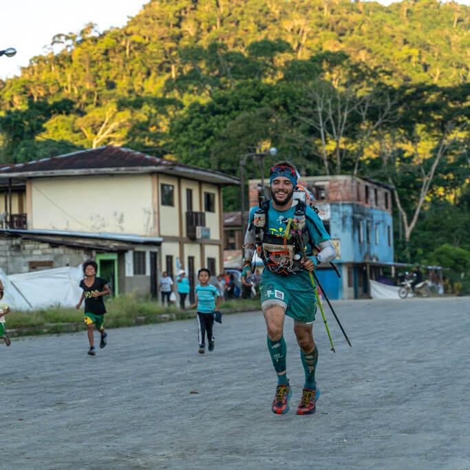 HOKA fan Mael Jouan approaches the finish of the Jungle Marathon